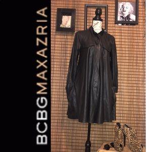 💥BCBGMAXAZRIA EMILE BLACK FAUX LEATHER DRESS